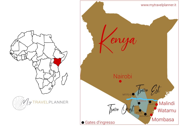 safari allo Tsavo Est mappa